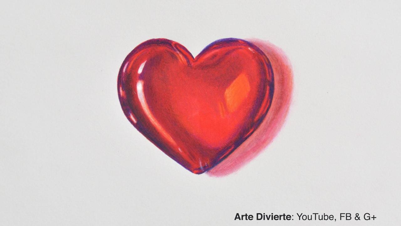 Cómo Dibujar Un Corazón De Cristal 3d Youtube