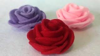 How to make easy a felt rose   cara mudah membuat bunga mawar dari flanel