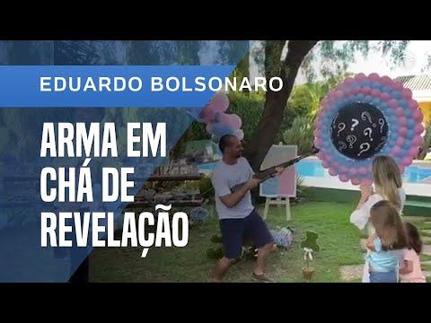 EDUARDO BOLSONARO USA ARMA EM CHÁ DE REVELAÇÃO DE SEU PRIMEIRO FILHO