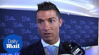 Cristiano Ronaldo reacts to winning UEFA Player of the year - Daily Mail