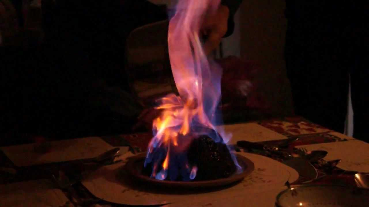 Christmas Pudding On Fire.Christmas Pudding Fire