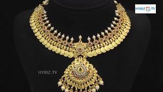 Latest Ruby Stone Lakshmi Kasu Necklace    Malabar Gold and Diamonds