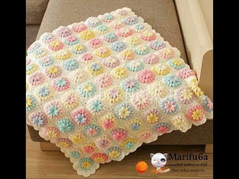 How to crochet flower afghan blanket free easy pattern tutorial for begginer