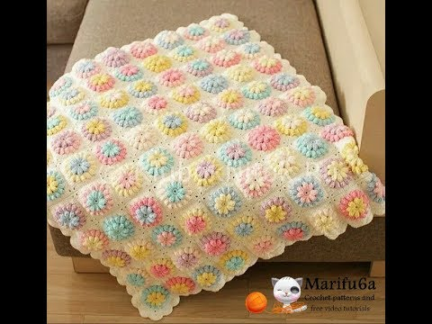 How to crochet flower afghan blanket free easy pattern tutorial for ...