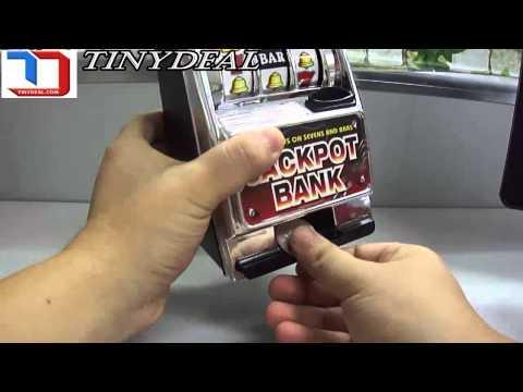 Jackpot Bank Token Operated Skill Stop Slot Machine Toy - Black