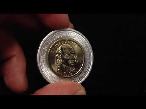 Encased James Madison $1 Presidential Coin Bi-Metallic US Coin