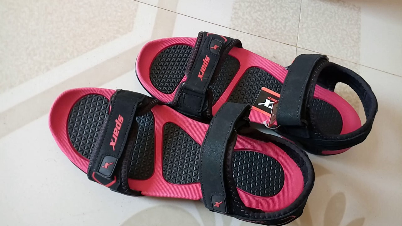 Sparx sandals red and black - YouTube