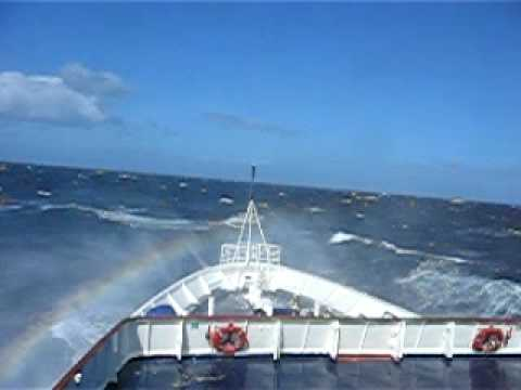Clipper Adventurer in rough weather of Falkland Islands
