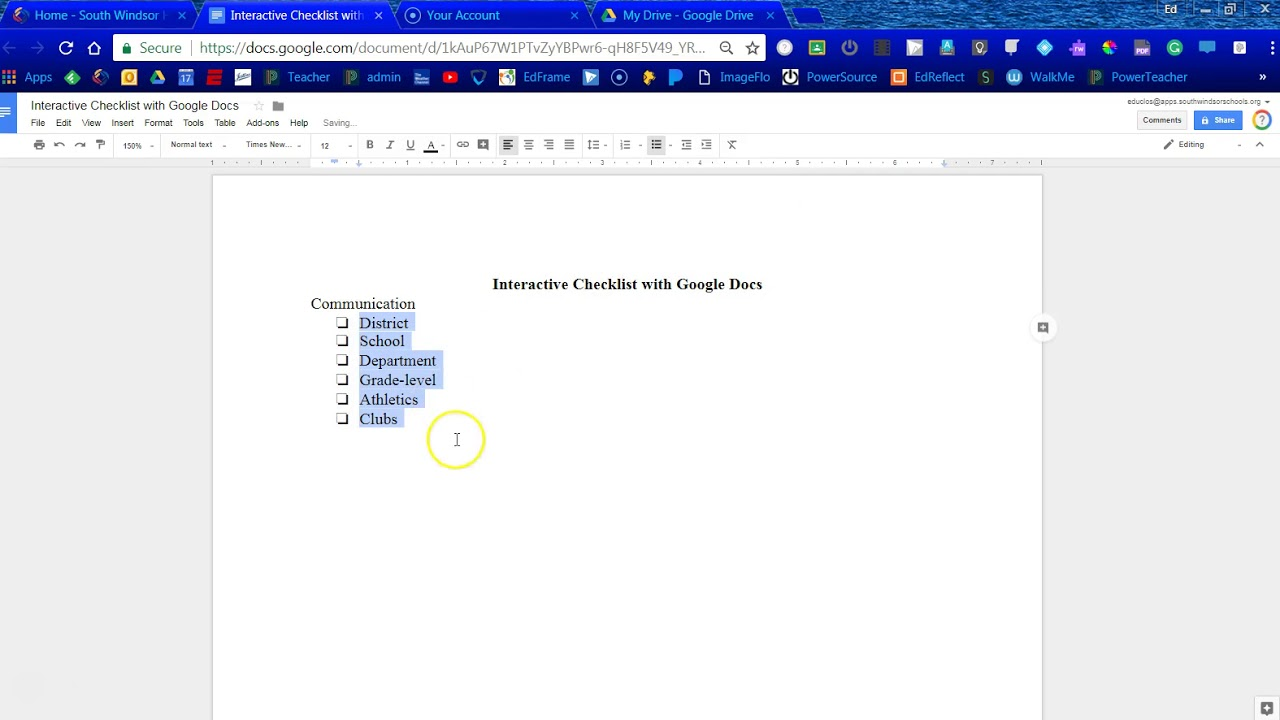 Interactive Checklist With Google Docs YouTube - Google docs checklist