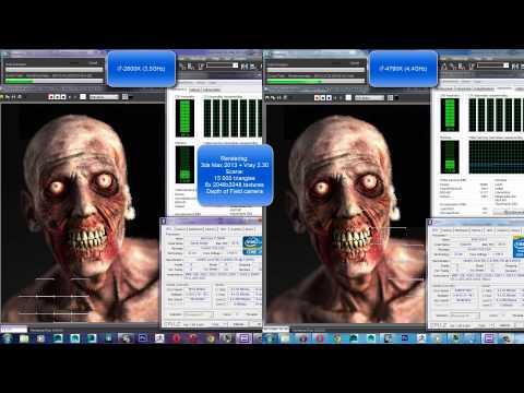 3D Rendering Test: Intel i7-2600K 3,4GHz VS i7-4790K 4,4GHz (no overclock) (turbo mode on)