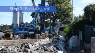 Construction shoring method: soil mix wall