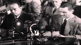 Ralph Brewster and Howard Hughes speak during the investigation of 40 million in ...HD Stock Footage