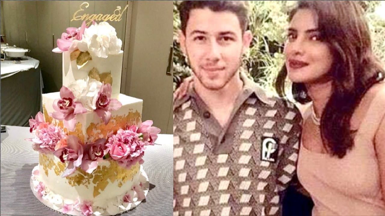Priyanka Chopra And Nick Jonas 24 Carat Gold Engagement Cake Youtube