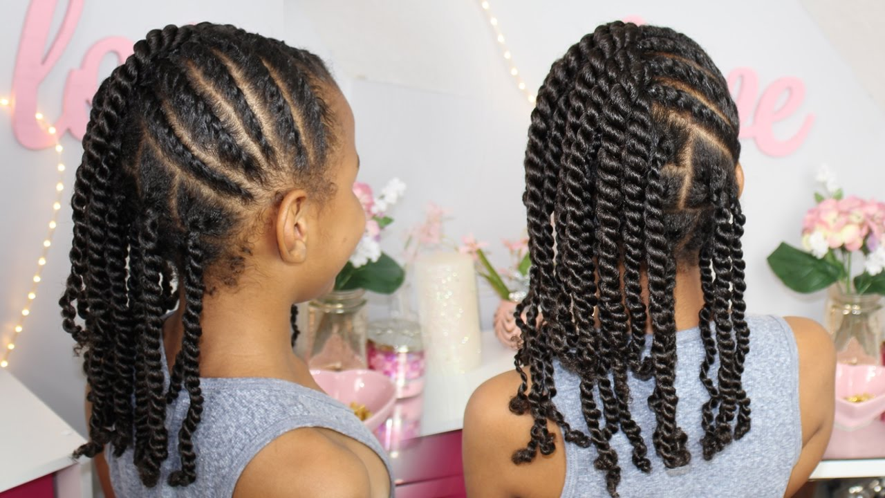 Flat Twists And 2 Strand Twists Natural Hair Kids Protective Hairstyle