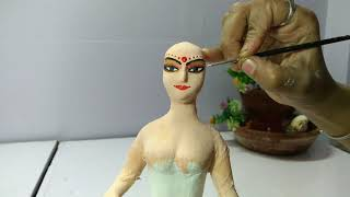 Bridal doll | handmade Doll | How to make Indian bridal doll with clay | clay art