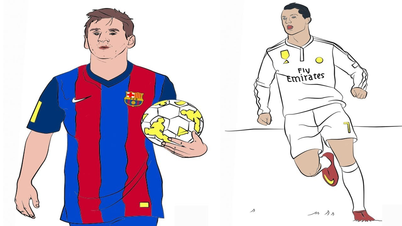 how to color  lionel messi and cristiano ronaldo coloring