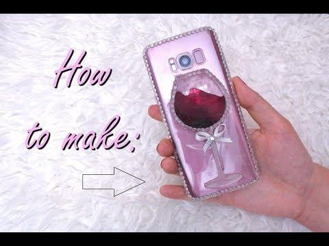 DIY LIQUID WINE GLASS PHONE CASE / HOW TO MAKE RESIN WINE GLASS CASE