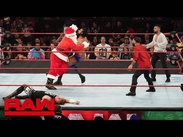 Santa Claus helps Heath Slater fight off Jinder Mahal and The Singh Brothers: Raw, Dec. 24, 2018
