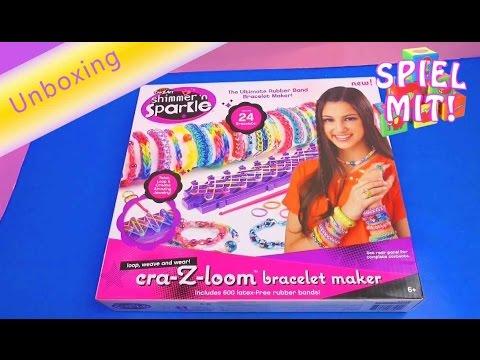 cra-z-loom-bracelet-maker-crazart-shimmer-'n-sparkle-loom-bands-box-unboxing-&-review-|-deutsch