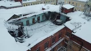 Видео с квадрокоптера частичного обрушения крыши здания в Нижнем Новгороде