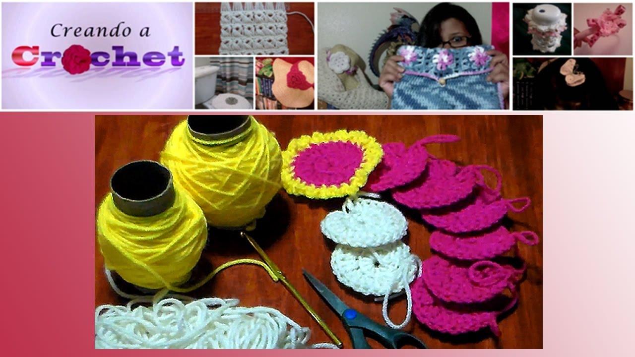 Union de aplicaciones redondas tejidas en crochet parte 1 - Aplicaciones en crochet ...