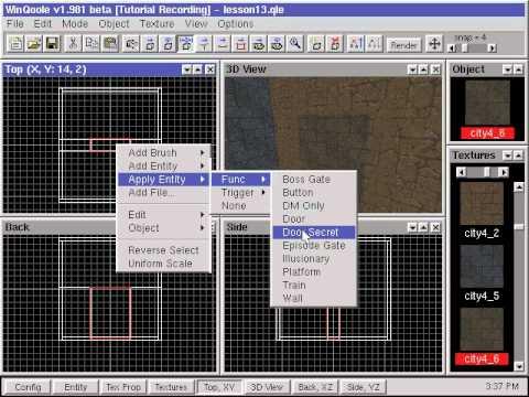 13) QOOLE-Quake + Quake 2 Level Editor Tutorial: Secret Doors - YouTube