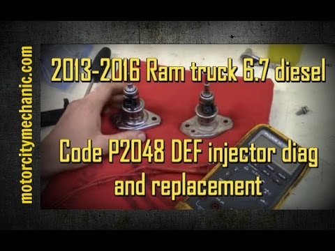 2013-2016 Ram 6 7 diesel code P2048 DEF injector diag and replacement