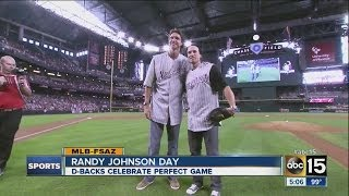 Randy Johnson throws first pitch at Arizona Diamondbacks
