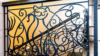 Кованые перила рисунок с котом силуэт кошки узор кошачий из металла