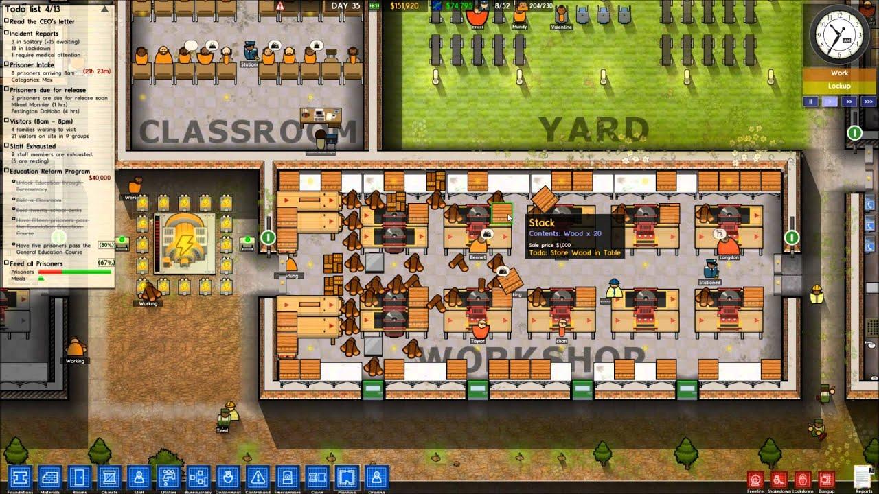 Prison Architect Best Most Efficient Workshop Tutorial