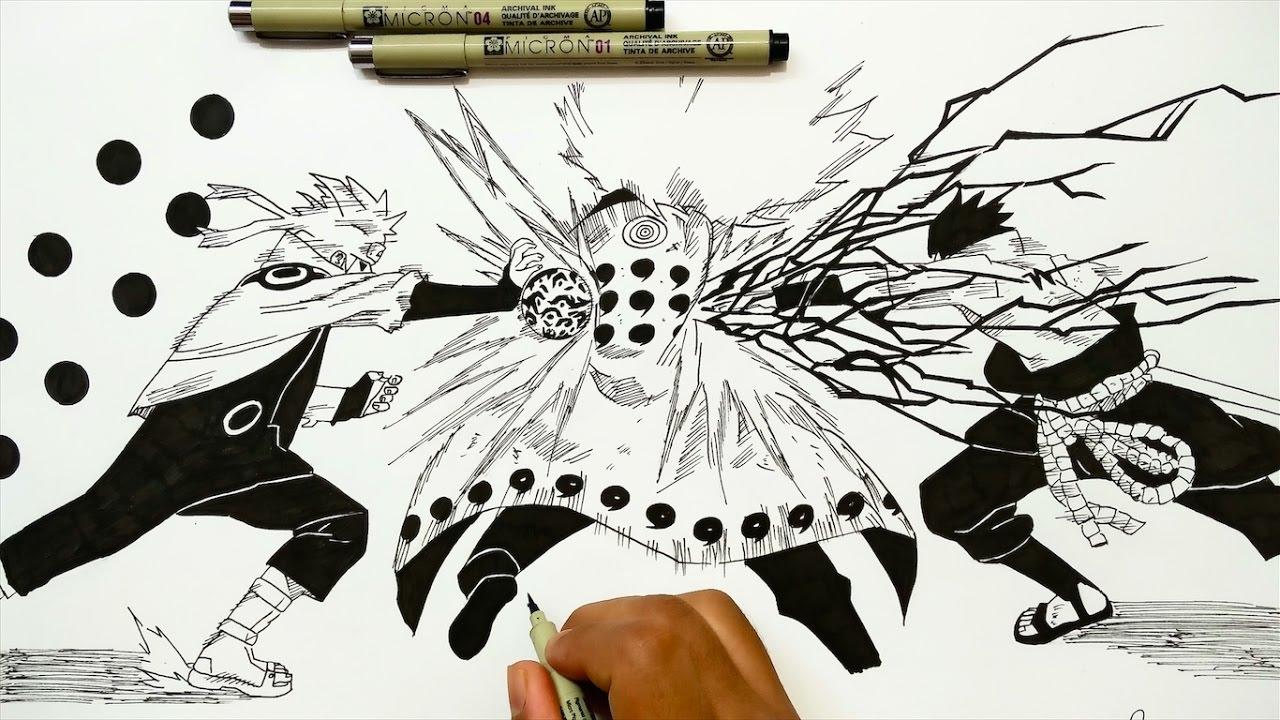 Drawing Naruto & Sasuke VS Madara - Naruto Shipudden - YouTube