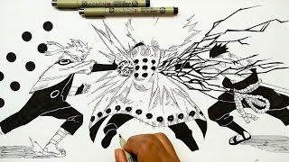 Drawing Naruto & Sasuke VS Madara - Naruto Shipudden