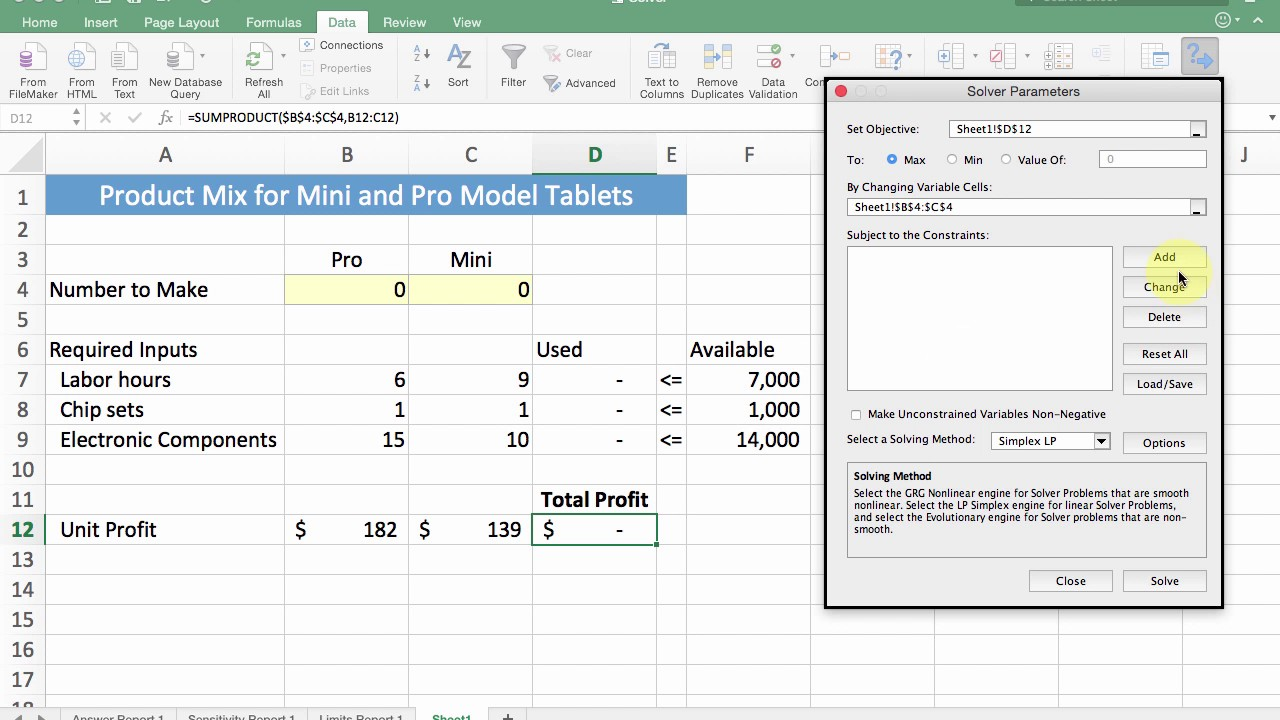 Linear Programming Lp Optimization With Excel Solver