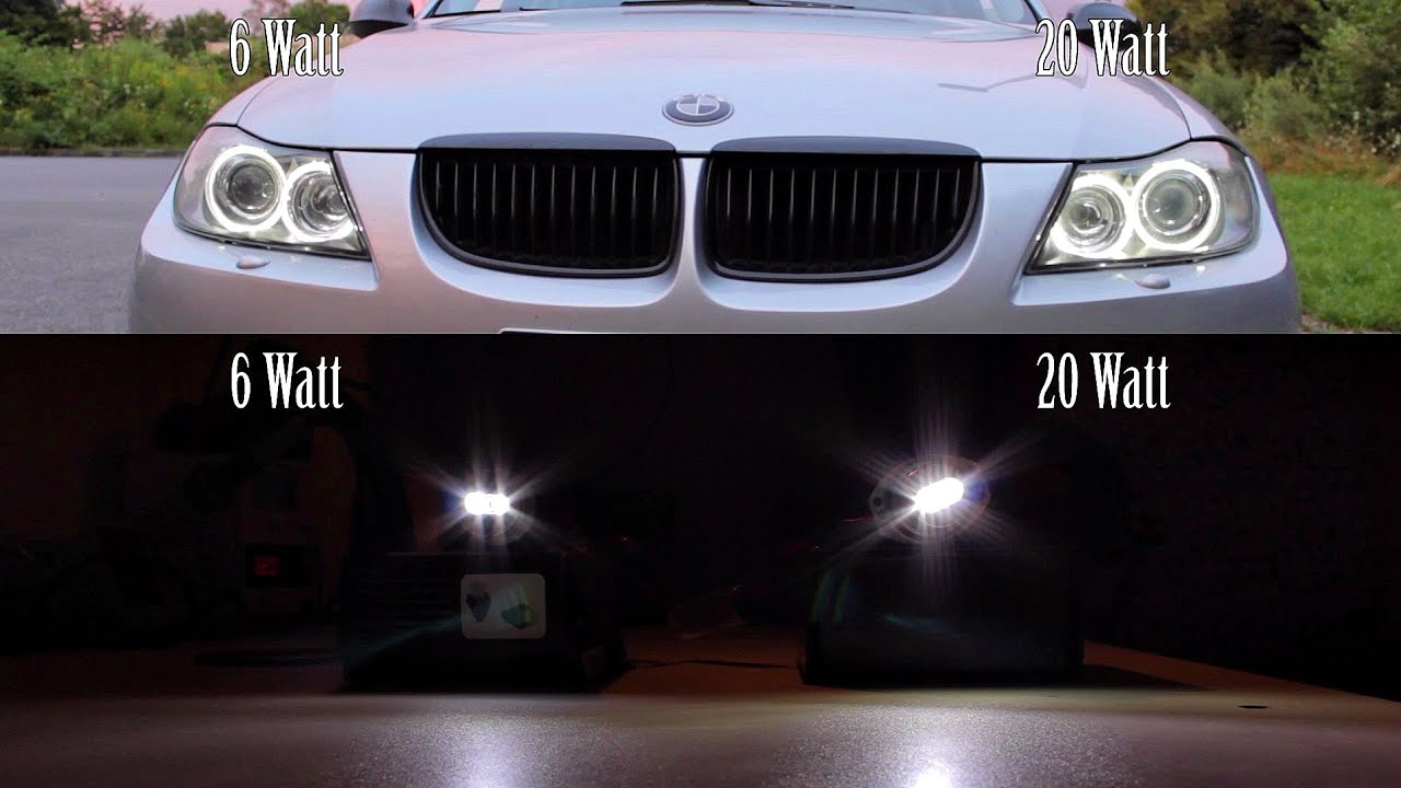 bmw 3er e90 6w vs 20w led vs original angel eyes comparison corona rings bulbs daylight tuning. Black Bedroom Furniture Sets. Home Design Ideas