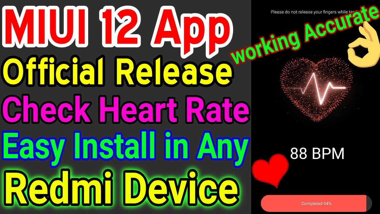 MIUI 12 Official Heart Rate Monitor App For Redmi Devices | Redmi Heart Rate App | Health App Review
