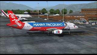AIRBUS A320 200 AIR ASIA MANNY PACQUIAO LIVERY TAKE OFF FROM KATHMANDU INTL AIRPORT FS9 HD