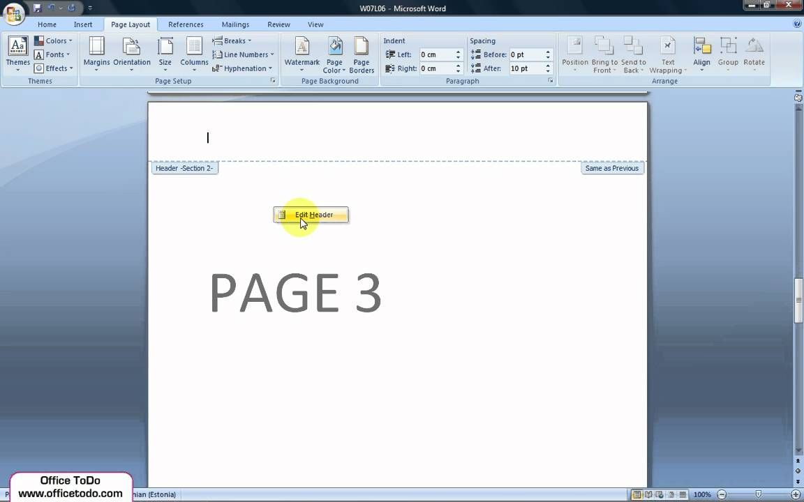 How To Start Header And Footer From Page 3? - YouTube