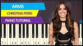 Christina Perri - Arms (piano tutorial) synthesia acoustic