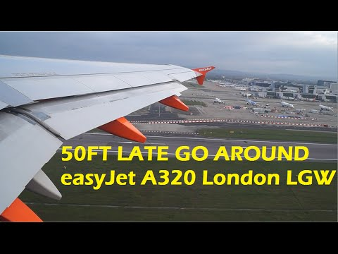 LATE 50ft Go Around easyJet A320 G-EZUL at London Gatwick !