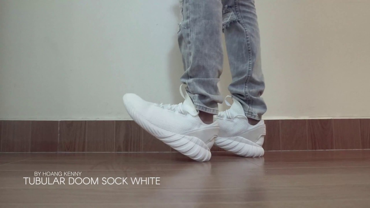 ea145777e361 Adidas Tubular doom sock white - on feet - YouTube