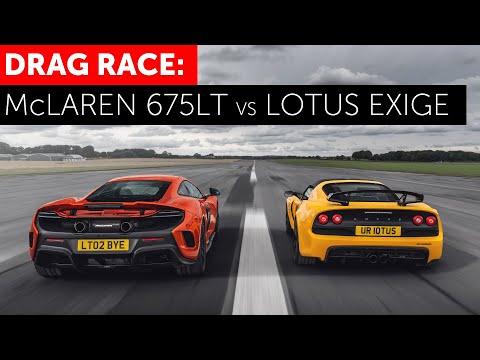 DRAG RACE! McLaren 675LT vs Lotus Exige V6 Club Racer