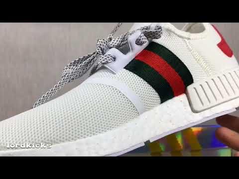10177fedc Gucci Bee x Adidas NMD XR1 Mesh White BA7245 HD Review - YouTube