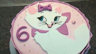 Торт Кошечка Мари | Выравнивание торта шоколадным ганашем | Украшение торта мастикой