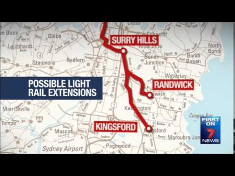 Seven News Sydney - Government considers more light rail extensions (5/6/2014)
