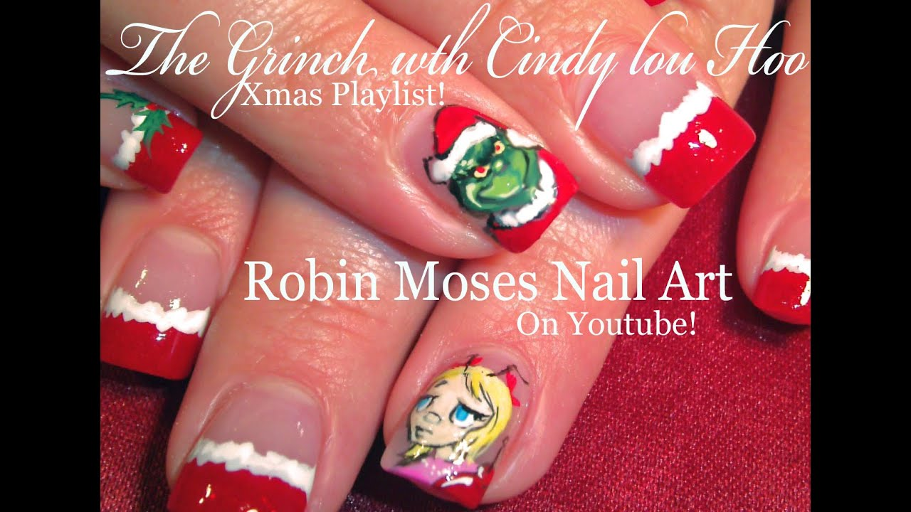 Christmas nails the grinch cindy lou who nail art design christmas nails the grinch cindy lou who nail art design tutorial youtube prinsesfo Image collections