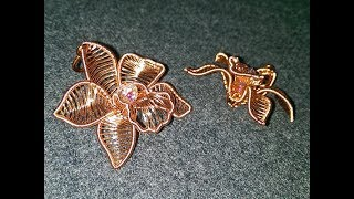 Cymbidium orchid - Copper Flower 3D pendant 273