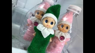 Baby Elf on the Shelf TRAPPED INSIDE WATER BOTTLES!