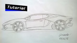 Como desenhar uma Lamborghini Aventador de lateral(Fernando)/How to draw Lamborghini Aventador