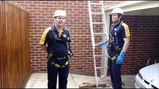 Gutter Cleaning - Securing the ladder