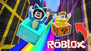 THE MOST DANGEROUS TOBOGAN IN THE WORLD!! ROBLOX BOX RACE 💙💚💛 BE BE BE MILO VITA AND ADRI 😍 AMIWITOS
